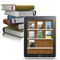 stack of books and ereader with digital books on virtual bookshelf