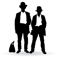 silhouette of two men in hats and briefcase