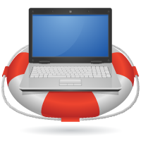 laptop on life preserver