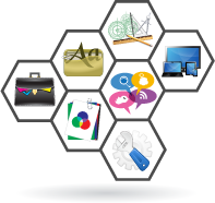 honeycomb of strategy, design and development icons