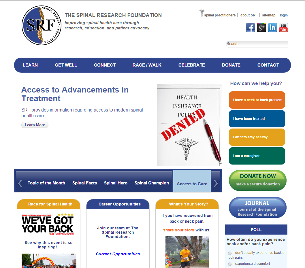 Spinal Research Foundation home page
